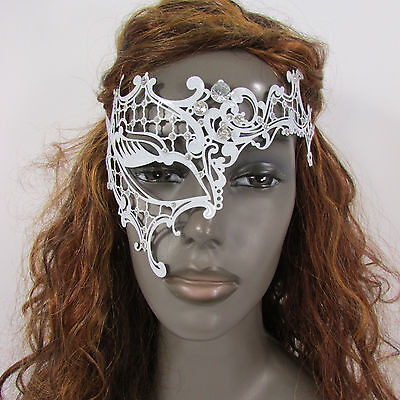 New Women Fashion Mask Mardi Gras White Metal Half  Silver Rhinestones Halloween