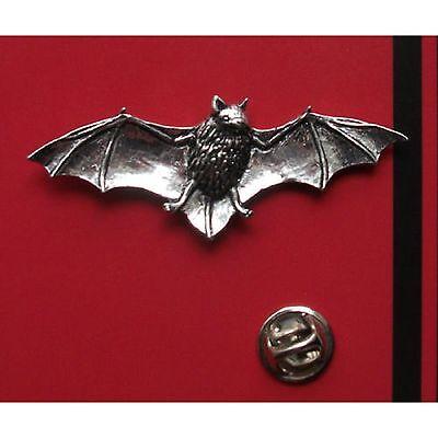 English Pewter BAT, Pipestrelle Bat PIN BADGE TIE PIN / LAPEL BADGE (XTSBPA34)