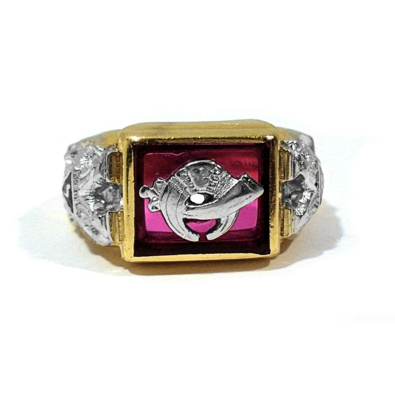 GOTHIC SOLID 14K YELLOW & WHITE GOLD & SYNTHETIC RUBY SHRINERS RING ~ SIZE 10