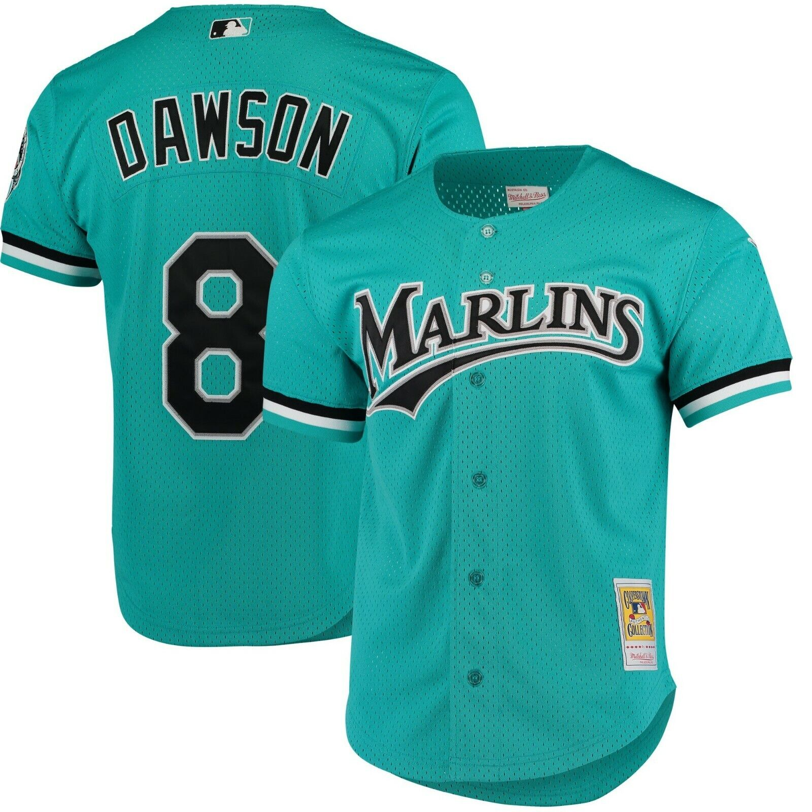 1d9c9887 Details about Florida Marlins Andre Dawson Mitchell & Ness Teal Full-button  front Mesh Jersey