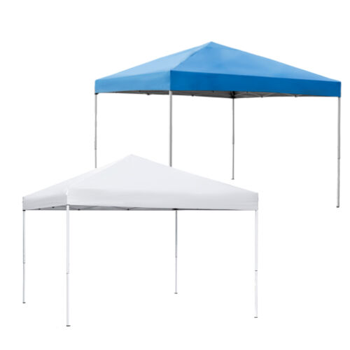 10 x 10 FT Foldable Waterproof Pop-Up Canopy Tent Adjustable Heights Blue/White Garden Structures & Shade