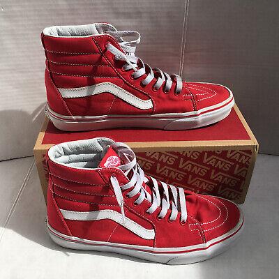 Vans Sk8-Hi Skate Shoes Size 8 Mens - Red/White