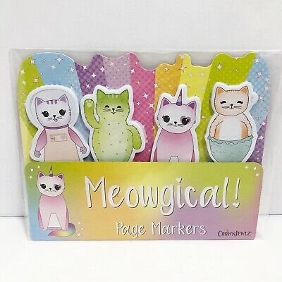 Meowgical Fun Cat Sticky Notes Page Markers 4 Designs 25 Sheets 100 Tabs