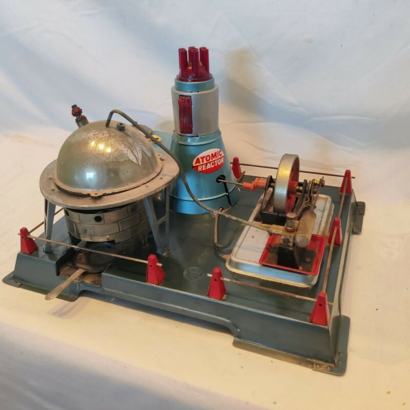 RARE VINTAGE 1950's MARX LINEMAR ATOMIC REACTOR STEAM ENGINE 4 parts/repair Nice