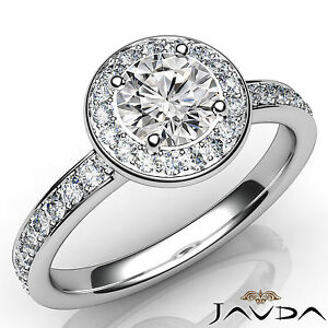 Halo Pave Set Round Cut Diamond Engagement Ring GIA E SI1 14k White Gold 0.95Ct