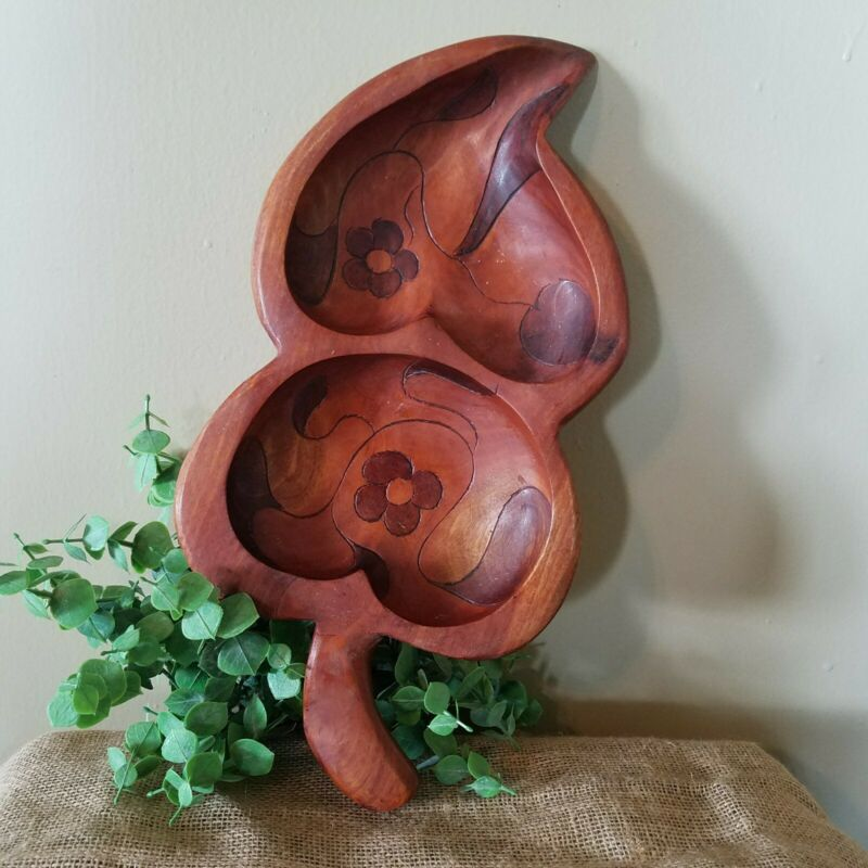 Vintage Wooden Hand Carved Double Leaf Bowl