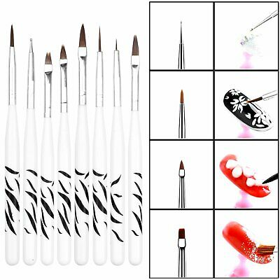 8Pcs/Set UV Gel Nail Art Brush Polish Painting Pen Brush For Manicure DIY Hot US Health & Beauty