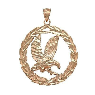 14k Rose Gold Solid Diamond Cut Flying Eagle in Wreath Charm Pendant 1.38