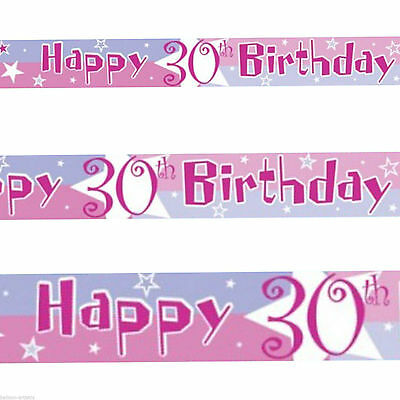 12ft Pink Blue Happy 30th Birthday Star Foil Banner - 30th Birthday Decorations Pink