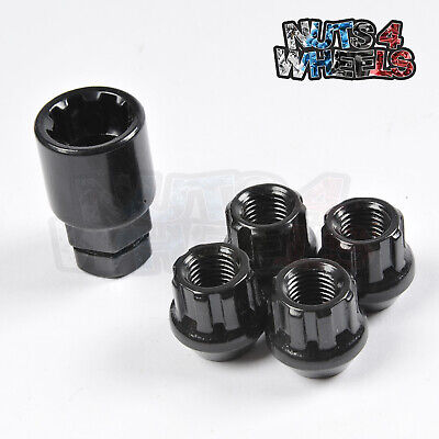 4x Black Locking Wheel Nuts M12x1.5 Fits Mitsubishi Outlander Grandis L200