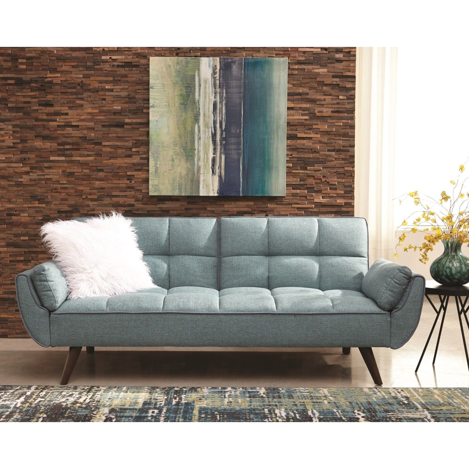 PERFECT FOR DORM ROOM TURQUOISE BLUE WOVEN SOFA BED FUTON LI