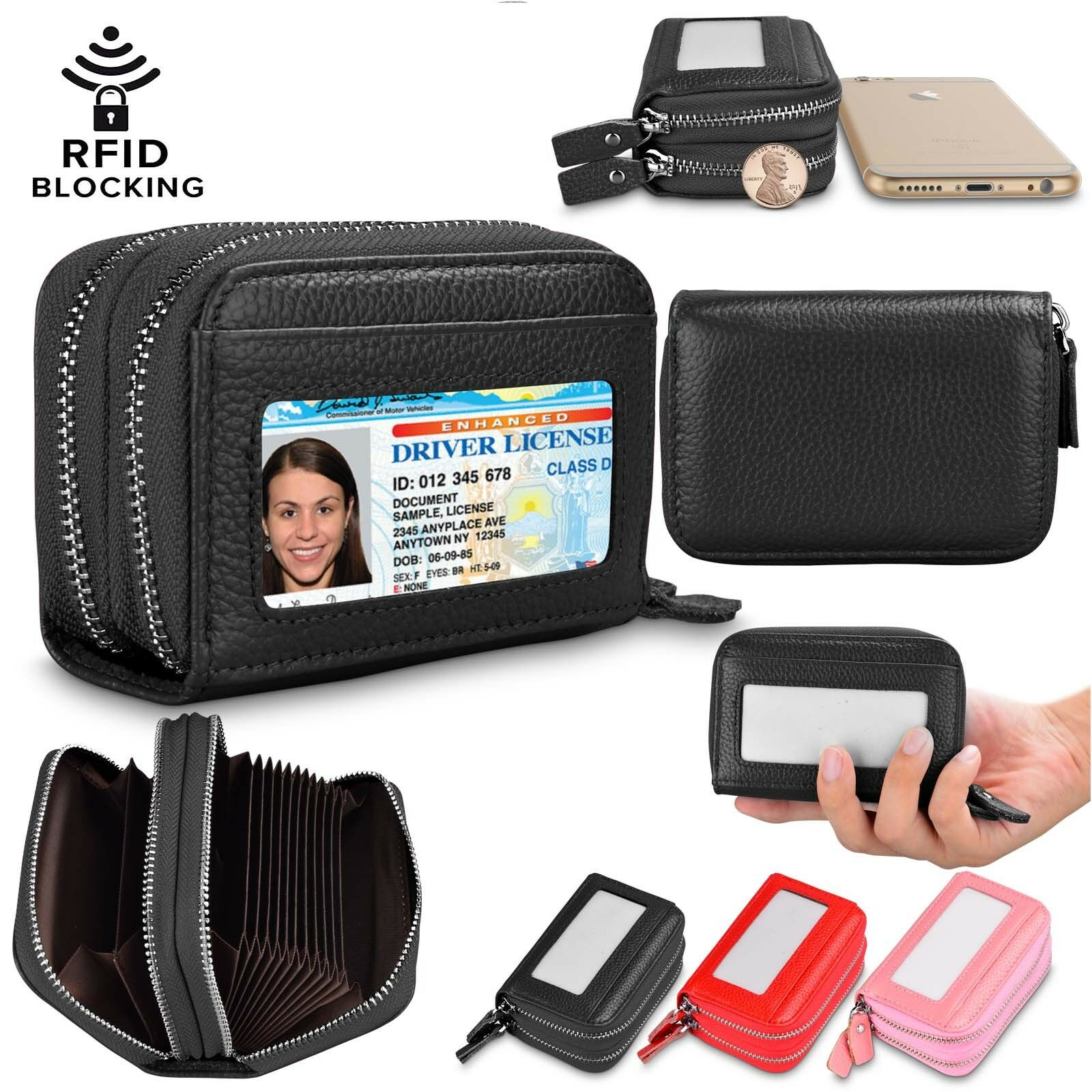 Women Leather Wallet RFID Blocking Credit Card Holder Double Zipper ID Window Clothing, Shoes & Accessories