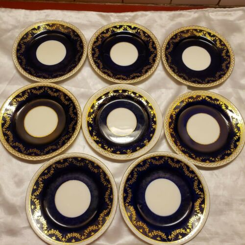 EIGHT T. Goode Aynsley Cobalt & Gold Bread and Butter Plates! Hand Painted!