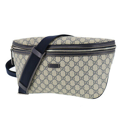 GUCCI GG Plus Fanny Pack Navy PVC Leather Italy Vintage Authentic #SS478 S