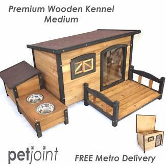 Flat Roof Medium Pet Kennel Window & Curtains Cat Dog Puppy House