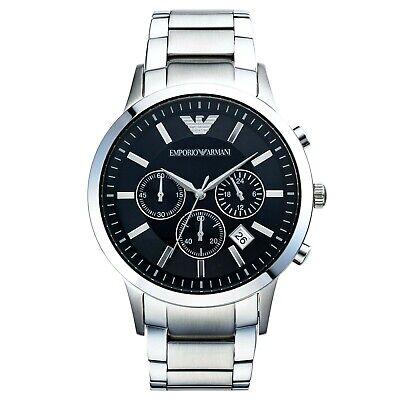 New Emporio Armani Men's Chronograph Watch AR2434 Black Watch Dial Silver Case