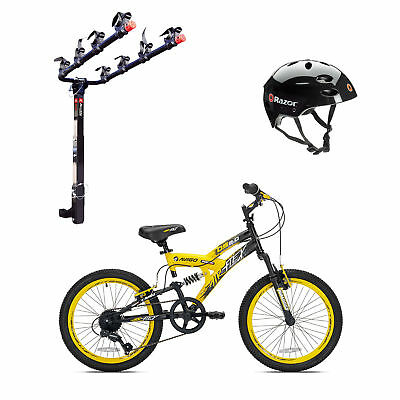 Kent Bikes Avigo Air Flex Steel 20 Inch Boys BMX Bike & 4 Bike Car Rack & Helmet