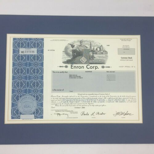 Enron Corporation Stock Certificate Great Condition 1 Share
