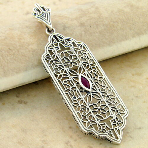 GENUINE RUBY 925 STERLING SILVER ANTIQUE STYLE FILIGREE PENDANT,            #979