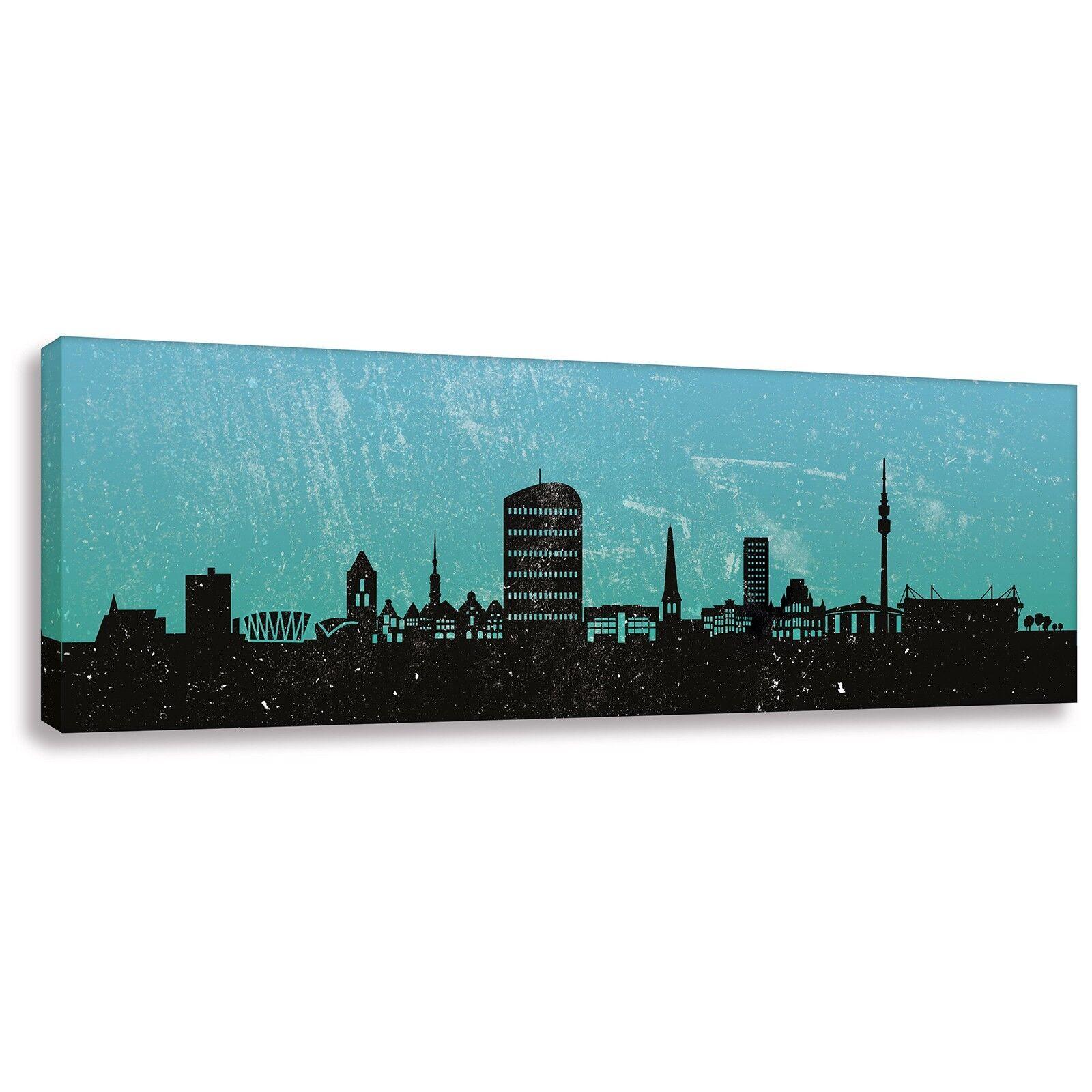 Panorama Bild Kunstdruck auf Leinwand Skyline Dortmund Türkis div. Größen