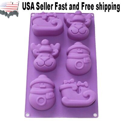 Christmas Snowman, Reindeer and Sleigh DIY Handmade Soap Mold ~ US Seller