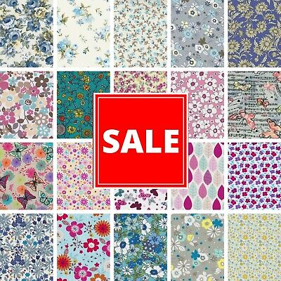 100% Cotton Fabric CLEARANCE **sale** From £1.99 Floral Roses Vintage Material