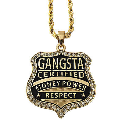 14K Gold GP Gangster Gangsta Money Power Respect Pendant Rope Chain Necklace 30