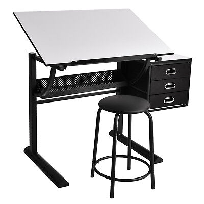Adjustable Drafting Table Drawing Desk Board Art Craft with Stool & 3 Drawers