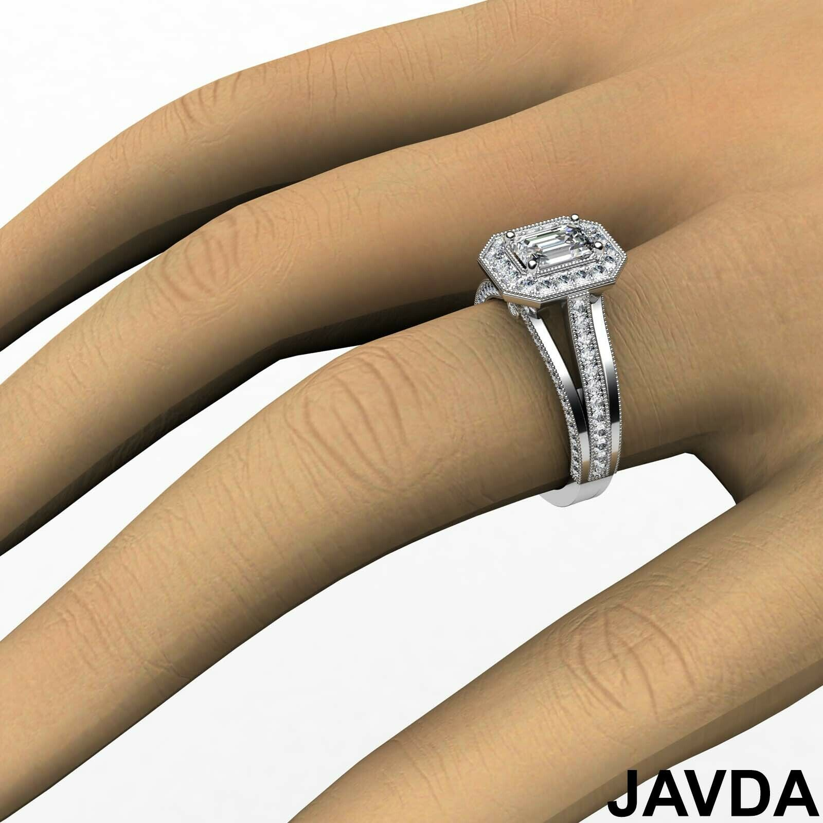 1.6ctw Milgrain Side-Stone Emerald Diamond Engagement Ring GIA F-VVS1 White Gold 6