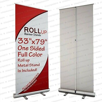 2- Retractable 33x79 Roll Up Banner Stand Trade Show Sign Signage Displaybag