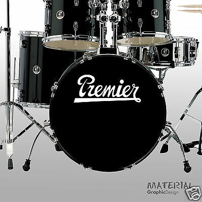 - 2x Premier Logo Sticker Decal - Bass Drum Head Skin Drums kit Percussion Wall
