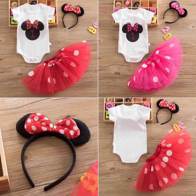 Baby Kinder Mädchen Partykleid Minnie Mouse Romper Strampler Tüll Tutu Rock Mode