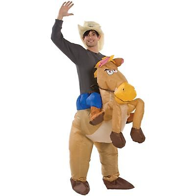 Cowboy Inflateable Ride On Horse Halloween Mens Adult Fancy Dress Costume