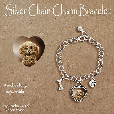 Toy Poodle Dog - POODLE DOG Toy Mini Chocolate - CHARM BRACELET SILVER CHAIN & HEART