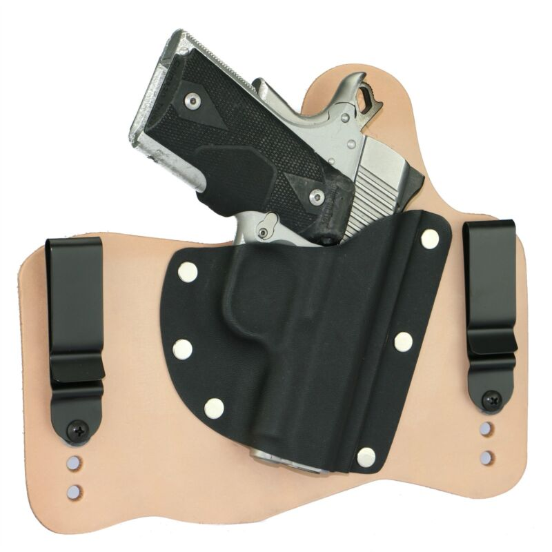 FoxX Leather & Kydex IWB Hybrid Holster Kimber 1911 Ultra Carry II & TLE RH Nat