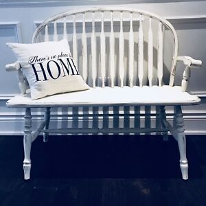 Rustic Shabby Chic Hall Entryway Maple Deacons Bench