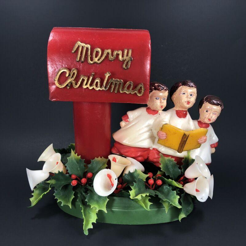 VTG Christmas Table Decor Merry Christmas MAILBOX w/ Choir Boys Bells Plastic