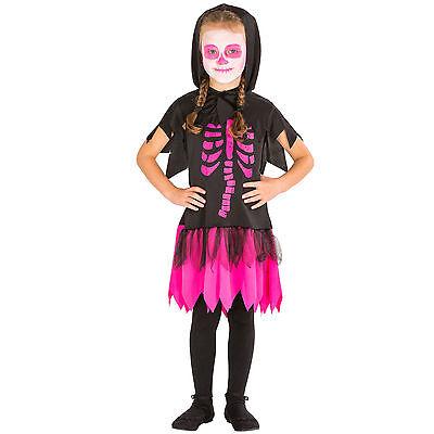 Mädchen Skelett Kleid mit Kapuze Kostüm Karneval Fasching Halloween Kinder - Skelett Kleid Kind Kostüm