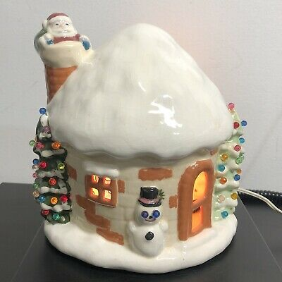 1975 Ceramic Igloo Light Up Christmas House Santa Claus Snowman Holiday Decor