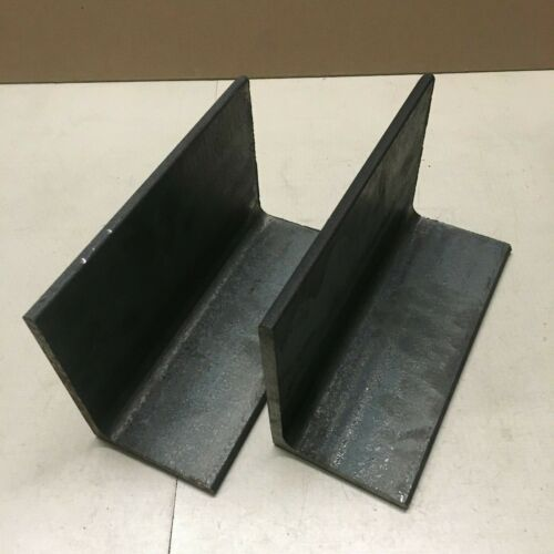 4 Inch x 6 Inch x  3/8 inch thick angle iron bar end lot of 2 pieces.
