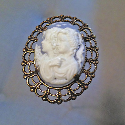 HATPIN WITH VICTORIAN CHILDREN ON CAMEO - ANTIQUE BRASS FINISH  Cameo Brass Finish