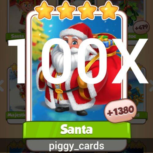 100 Santa Coin Master Rare Cards Christmas Card Set Pack Lot