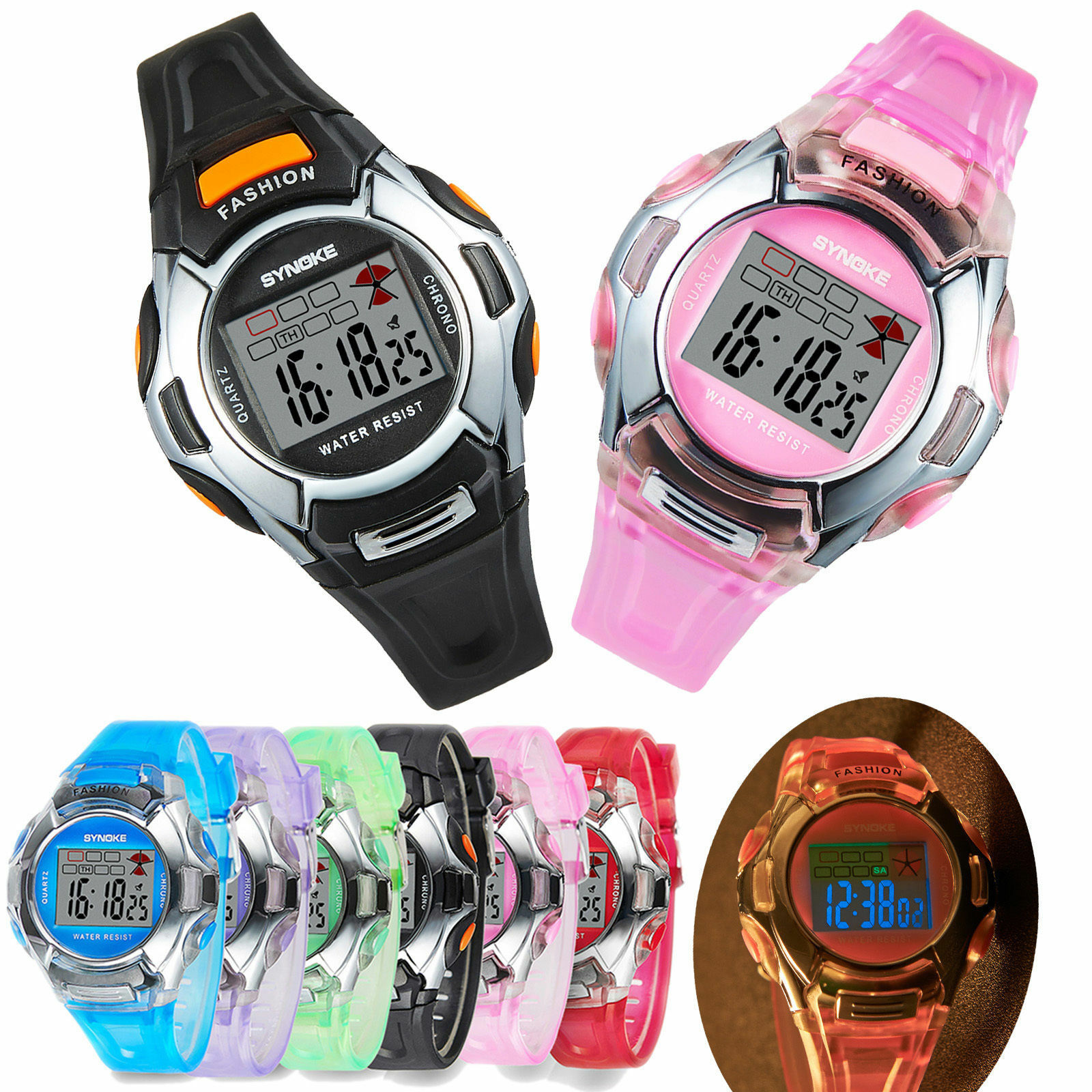 LED Digital Electronic Multifunction Waterproof Child Kids Boy's Girl's Watch US Jewelry & Watches