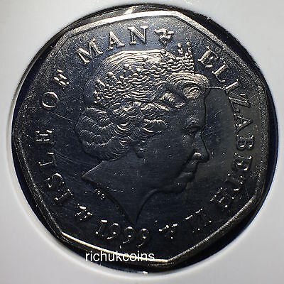 1999 T.T. Currency Type 50p Coin Rev. & Obv.