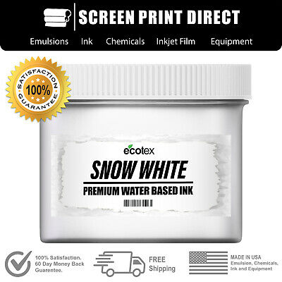 Ecotex Snow White Water Based Ready To Use Ink- Screen Printing- Pint -16 Ounce