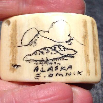 Alaskian Scrimshaw Piece by E. Omnik - Alaska