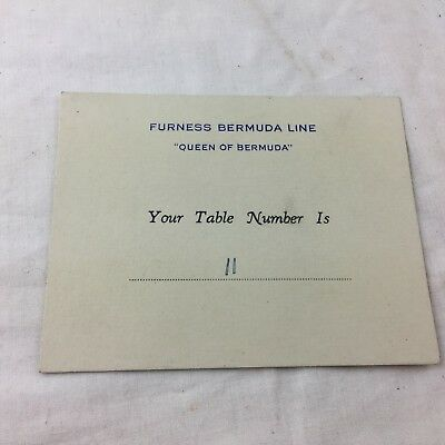 VINTAGE 1949 FURNESS BERMUDA LINE QUEEN BERMUDA YOUR TABLE NUMBER CARD / SEAT