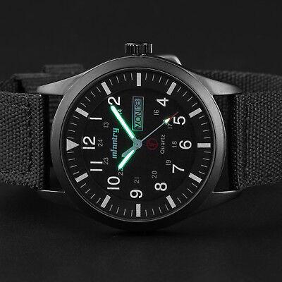🎉INFANTRY Herrenuhr Outdoor Armbanduhr Uhr Sportuhr Datum Nylon Schwarz Militär