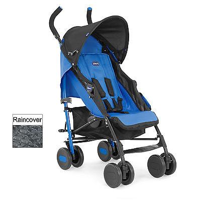 NEW CHICCO POWER BLUE ECHO PUSHCHAIR UMBRELLA STROLLER BABY BUGGY & RAINCOVER