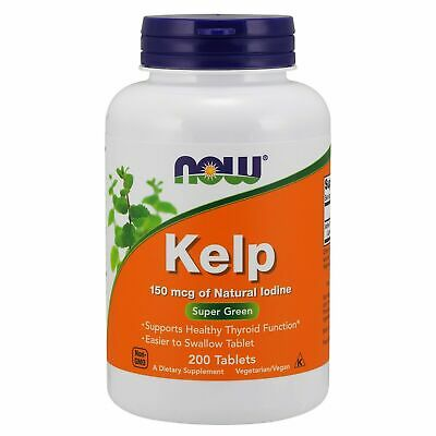 Now Foods KELP Natural Iodine Green Superfood 150 mcg, 200 tabs THYROID SUPPORT